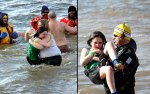 Cold-water-is-too-much-for-this-young-girl-hugging-her-mom-then-being-rescued-during-the-polar-bear-plunge