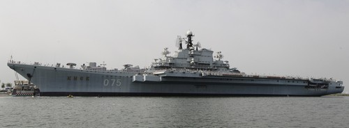 The decommissioned former Soviet aircraft carrier Kiev is docked at Bagua beach on the outskirts of Tianjin